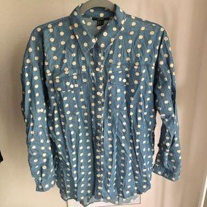 Forever 21 Polka Dot Button Down Shirt